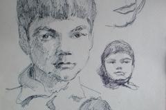 Архитектор-Менякин-рисует-сына-Ивана-1971-год