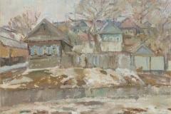 Дома-в-Затоне-на-берегу-Волги. 1997-г. Художница Чечнева Н.А.