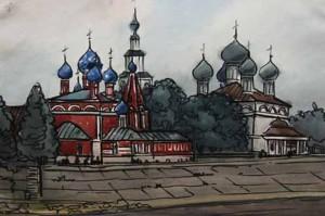 Православный храм рисунок Менякина